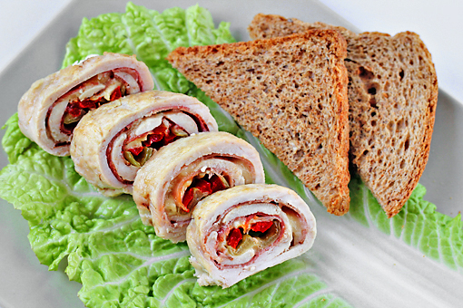 chicken roll stuffed with ham, cheese, and peppers, recipe with step by step pictures
