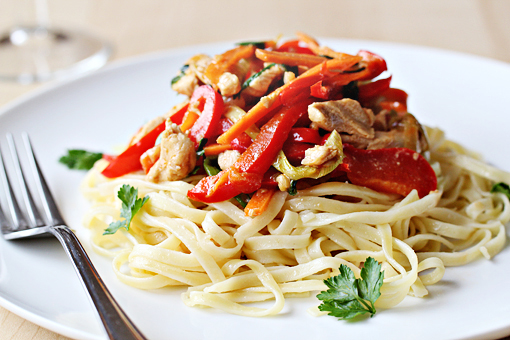spring chicken salad with noodles recipe with step by step pictures, serving the dish