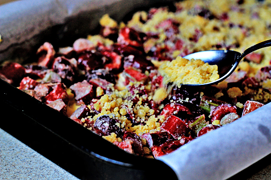 rhubarb and cherry crumb bars step by step picture recipe, top the filling with the streusel - crumb mixture