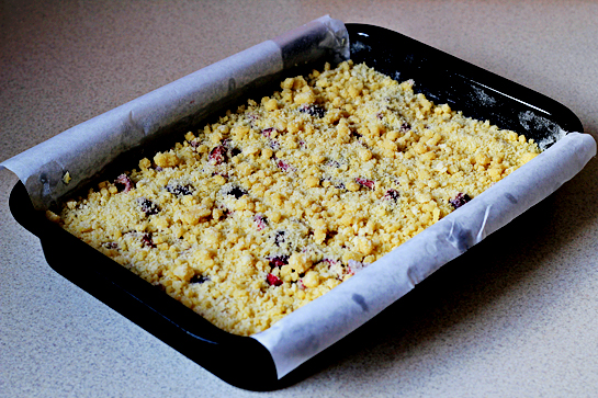 rhubarb and cherry crumb bars step by step picture recipe, bake the cake at 350 F - 175 C until golden and a toothpick inserted in the center comes out clean with moist crumbs attached, 35 to 40 minutes, let cool completely in the pan