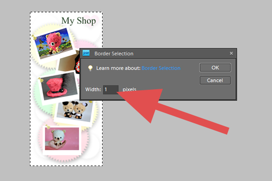 Photography, How To Add A Border To A Picture step by step picture tutorial, return back to the upper menu bar, press select, modify, border, a little window will pop up, in this window choose the width of your border in pixels