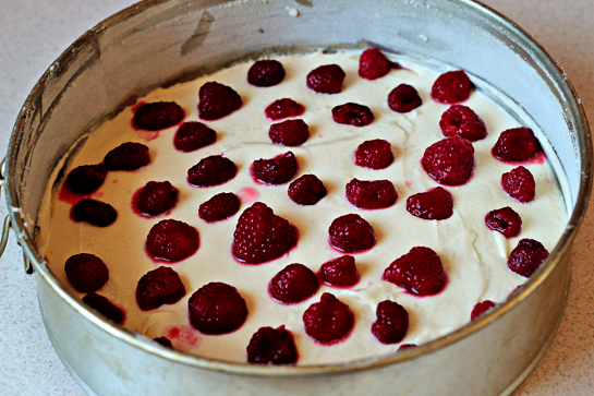 raspberry buttermilk cake recipe with step by step pictures, spoon the batter into the cake pan, smoothing the top, scatter the raspberries evenly over the top and sprinkle with remaining 2 tablespoons (24 grams) sugar