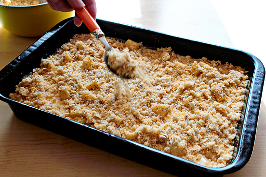 Caramel apple cheesecake cookie bars recipe with step by step pictures. Crumble over the cream cheese mixture.
