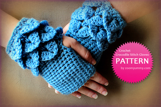 crochet crocodile stitch fingerless gloves pattern by zoomyummy.com