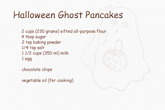 Halloween ghost pancakes recipe zoom yummy crochet food halloween ghost shaped pancakes step by step picture recipe ingredients ccuart Image collections