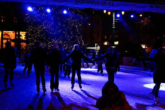 Christmas market ice skating