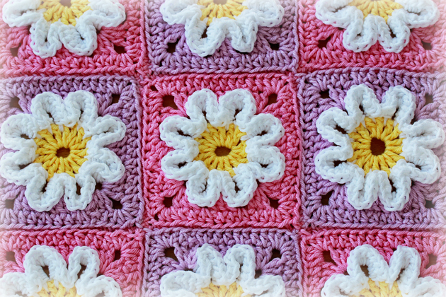 Crochet 3d Flower Squares Revisited Crafts Zoom Yummy Crochet