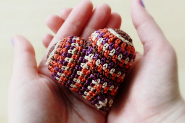 happy colorful crocheted heart