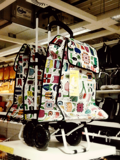 ikea colorful shopping bag with wheels
