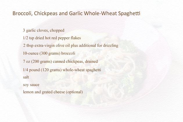 whole wheat broccoli, chickpeas and garlic spaghetti recipe ingredients