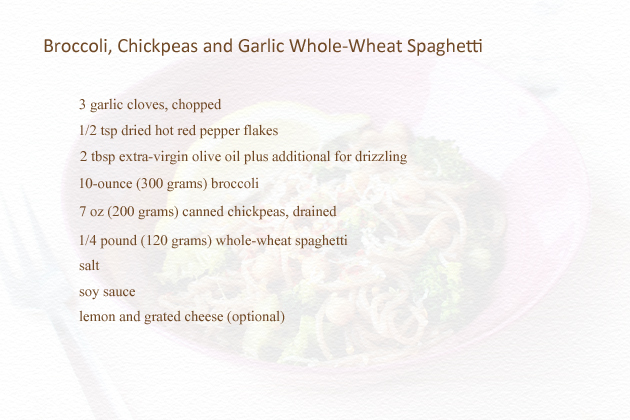 whole wheat broccoli, chickpeas and garlic spaghetti recipe ingredients