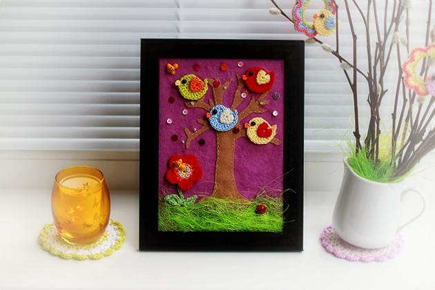 framed crochet and felt picture