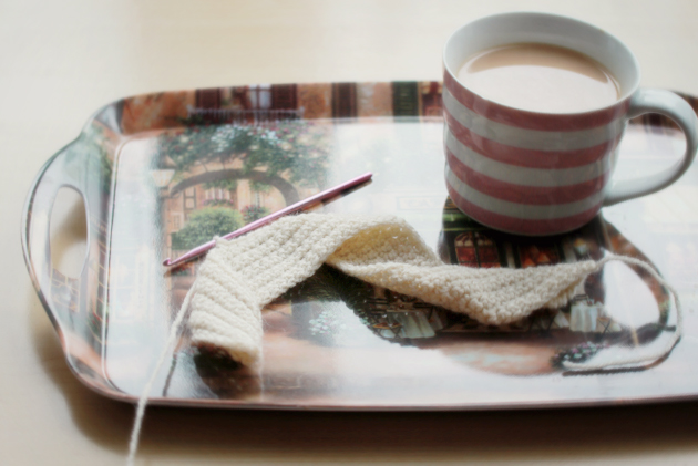crochet and tea on a tray