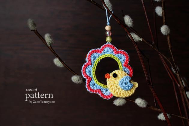 New Pattern A Little Crochet Bird Sitting On A Wreath Ornament