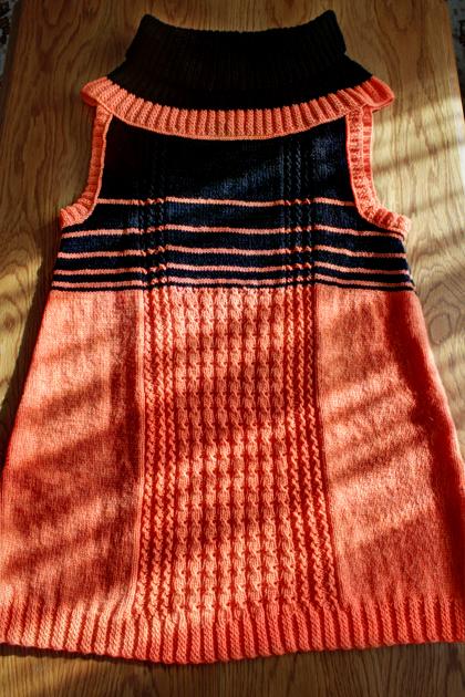 black and orange long knitted vest