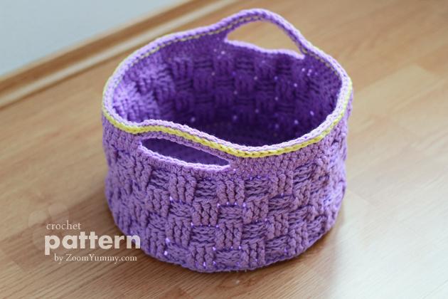 crochet pattern big crochet basket from zoomyummy purple