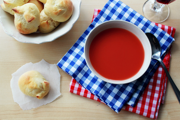 tomato soup and rabbit dinner roll