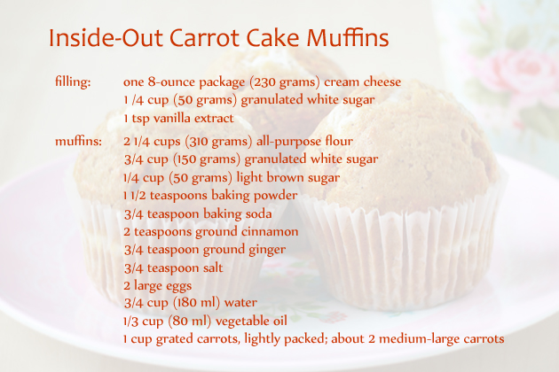 inside-out carrot cake muffins recipe ingredients