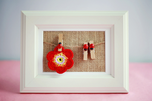 crochet presentation in ikea frame filled with burlap fabric