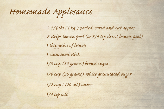 homemade applesauce ingredients