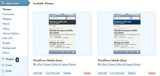 wordpress dashboard appearance available mobile themes