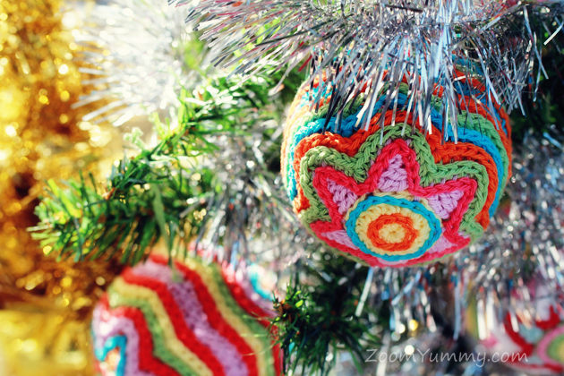 crochet star ball ornament