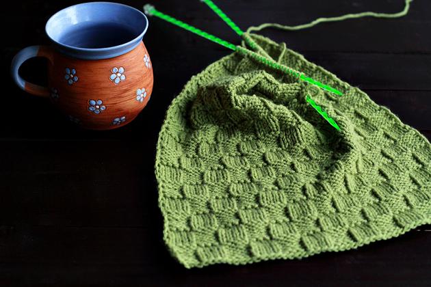 knitted basket stitch scarf