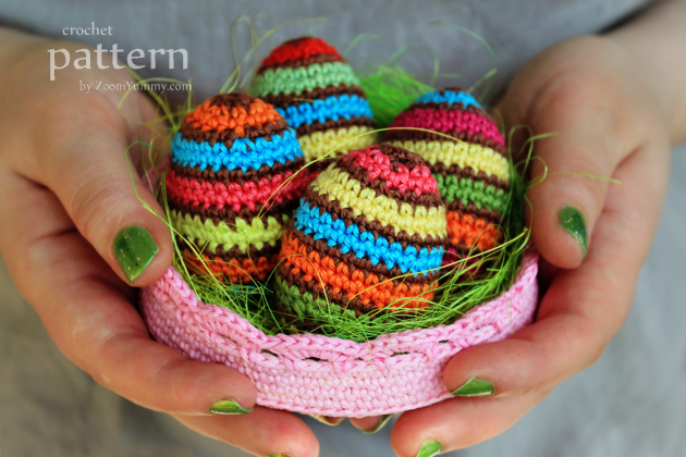 crochet striped Easter egg in a bowl pattern