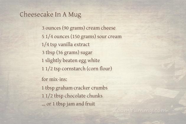 microwave cheesecake in a mug - ingredients