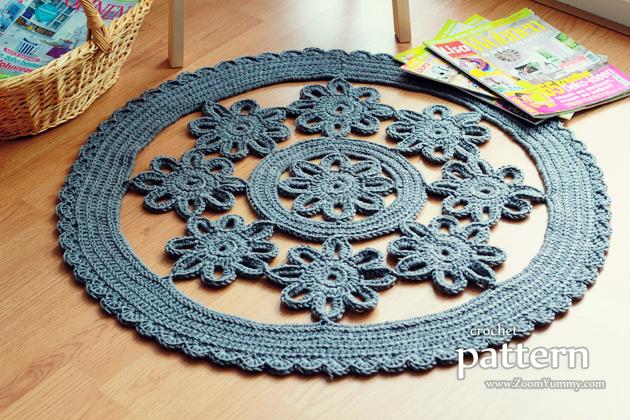 crochet pattern - flower rug