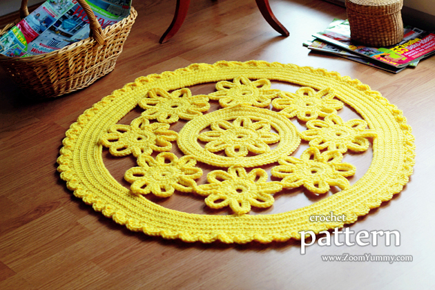 crochet pattern - flower rug