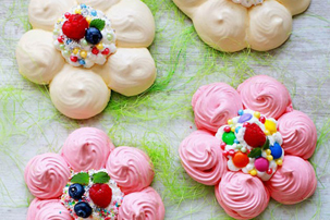 Colorful Flower-Shaped Pavlovas (Meringue Flowers) recipe