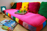 crochet bed cover and crochet cushions
