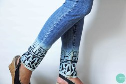 Bleach-Dipped Aztec Jeans