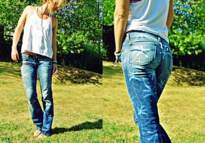 DIY Palm Tree Print Jeans