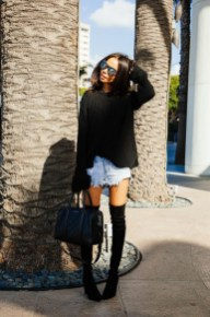 Denim Shorts With A Big Sweater & Thigh-High Boots