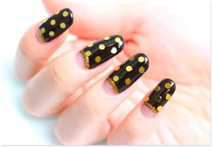 Gold On Chocolate Nails Design