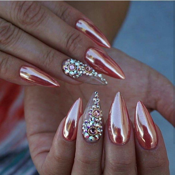 Rose Gold Chrome Nails Design