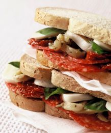 Salami, Mozzarella & Roasted Red Pepper Sandwich