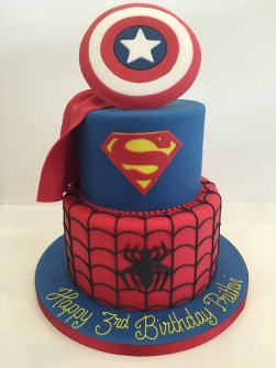 Spiderman & Superman Birthday Cake