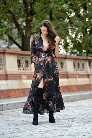 Thigh-High Boots With A Floral Dress