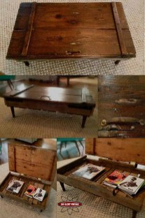 Upcycled Barn Door Coffee Table With Storage