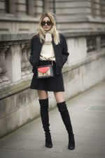 Valentine's Day Outfit Idea With A Mini Skirt & Thigh High Boots