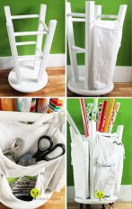 Wooden Stool Into A Tool And Crafts Organizer
