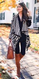 Aztec Print Cardigan with Black Skinny Jeans, Camel Riding Boots & Camel Leather Tote Bag