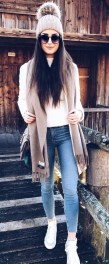 Bleached Skinny Jeans with White Sneakers, a White Top, a Grey Beanie & Brown Carf