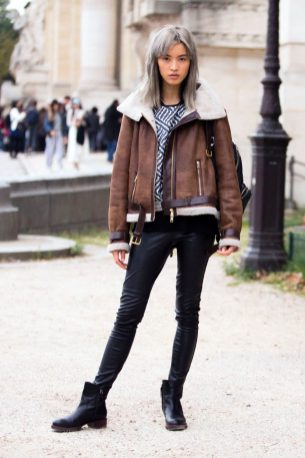 Chunky Knit Sweater + Shearling Jacket + Skinny Jeans + Ankle Booties