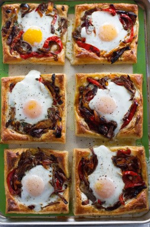 Roasted Red Pepper and Baked Egg Galettes