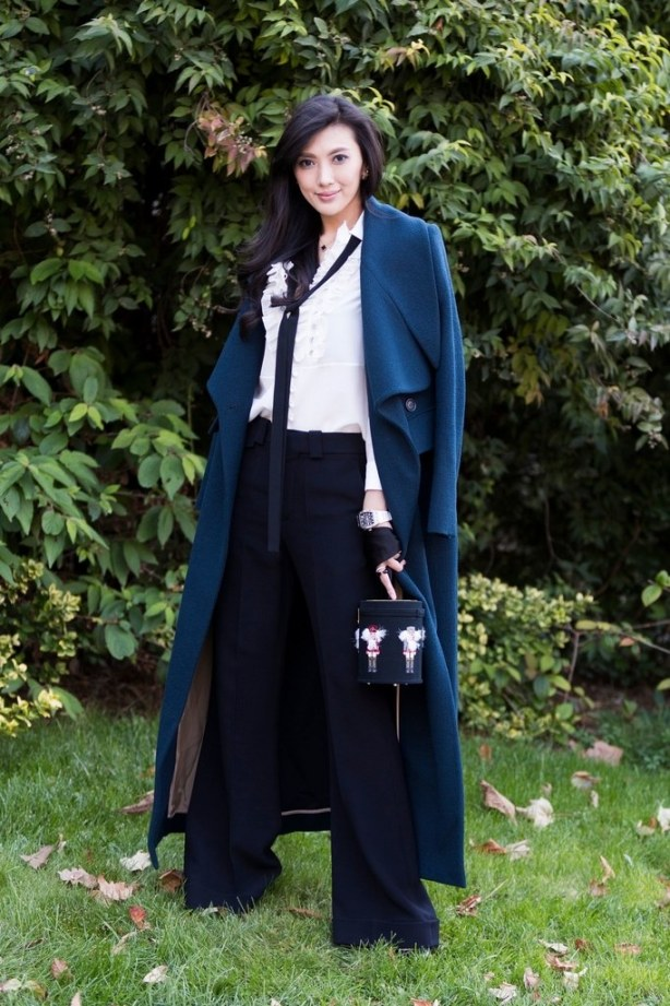 Silk Blouse + Trousers + Duster Coat + Skinny Scarf