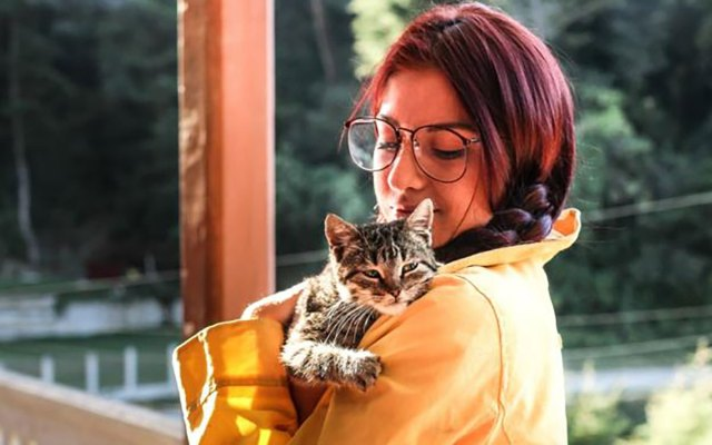 A cat is being held by her female owner.